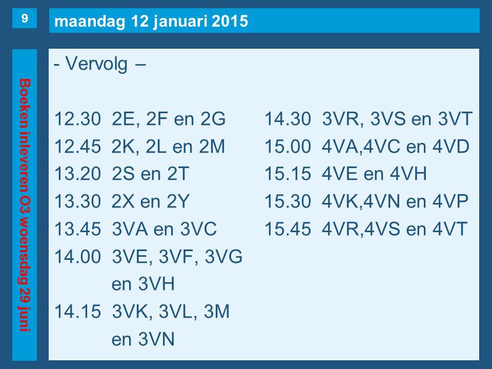 maandag 12 januari 2015 Boeken inleveren O3 woensdag 29 juni - Vervolg – 12.30 2E, 2F en 2G14.30 3VR, 3VS en 3VT 12.45 2K, 2L en 2M15.00 4VA,4VC en 4VD 13.20 2S en 2T15.15 4VE en 4VH 13.30 2X en 2Y15.30 4VK,4VN en 4VP 13.45 3VA en 3VC15.45 4VR,4VS en 4VT 14.00 3VE, 3VF, 3VG en 3VH 14.15 3VK, 3VL, 3M en 3VN 9
