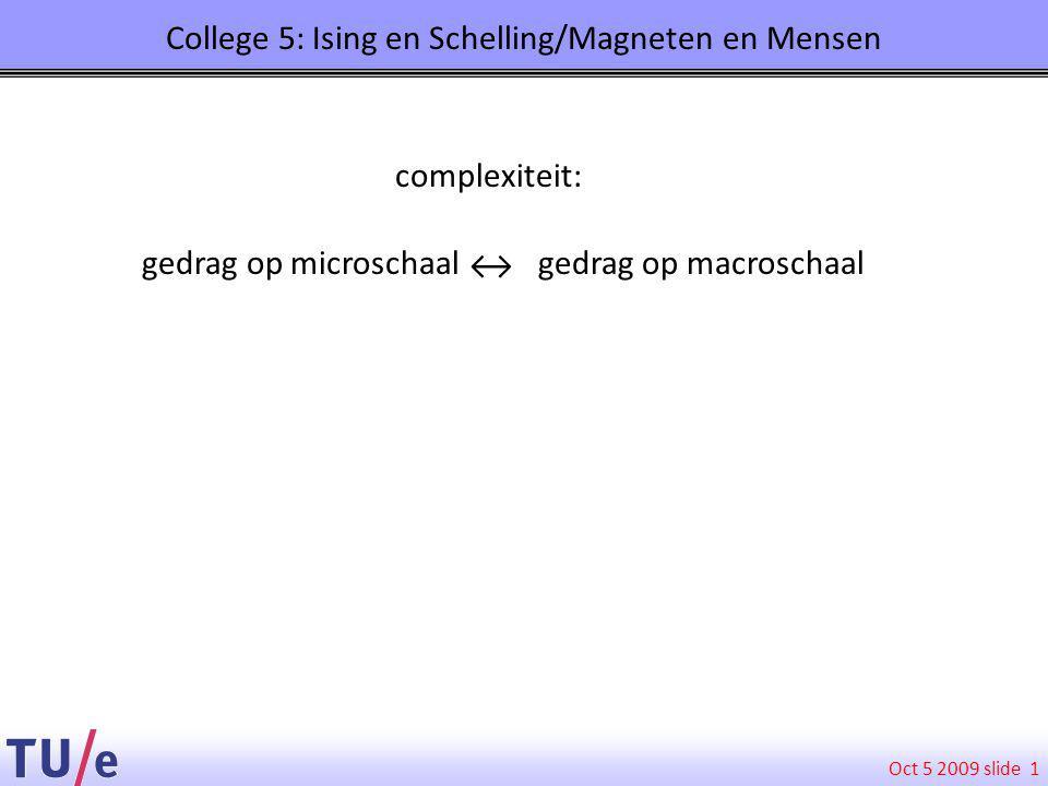 Oct 5 2009 slide College 5: Ising en Schelling/Magneten en Mensen 1 gedrag op microschaal gedrag op macroschaal complexiteit: ↔