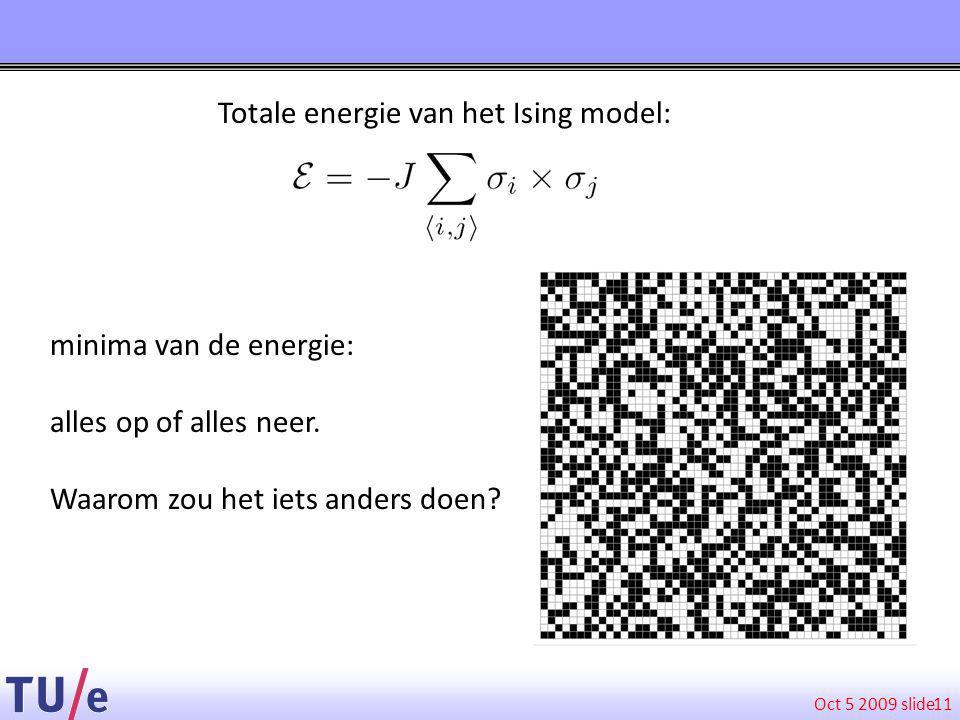 Oct 5 2009 slide 11 Totale energie van het Ising model: minima van de energie: alles op of alles neer.