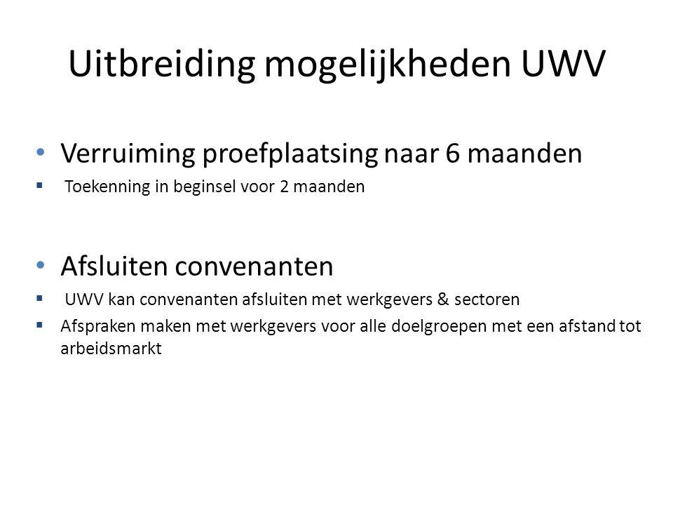 Uitbreiding mogelijkheden UWV Verruiming proefplaatsing naar 6 maanden  Toekenning in beginsel voor 2 maanden Afsluiten convenanten  UWV kan convena