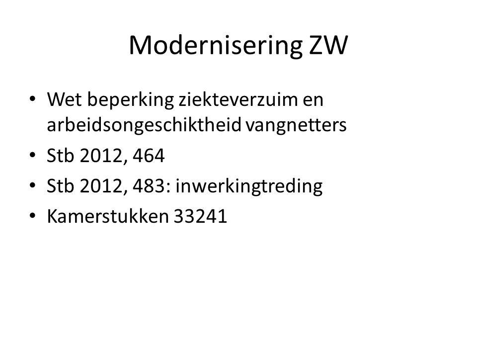 Modernisering ZW Wet beperking ziekteverzuim en arbeidsongeschiktheid vangnetters Stb 2012, 464 Stb 2012, 483: inwerkingtreding Kamerstukken 33241