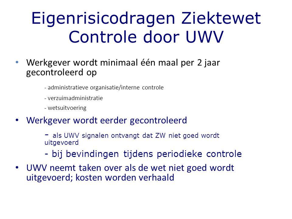 Eigenrisicodragen Ziektewet Controle door UWV Werkgever wordt minimaal één maal per 2 jaar gecontroleerd op - administratieve organisatie/interne cont
