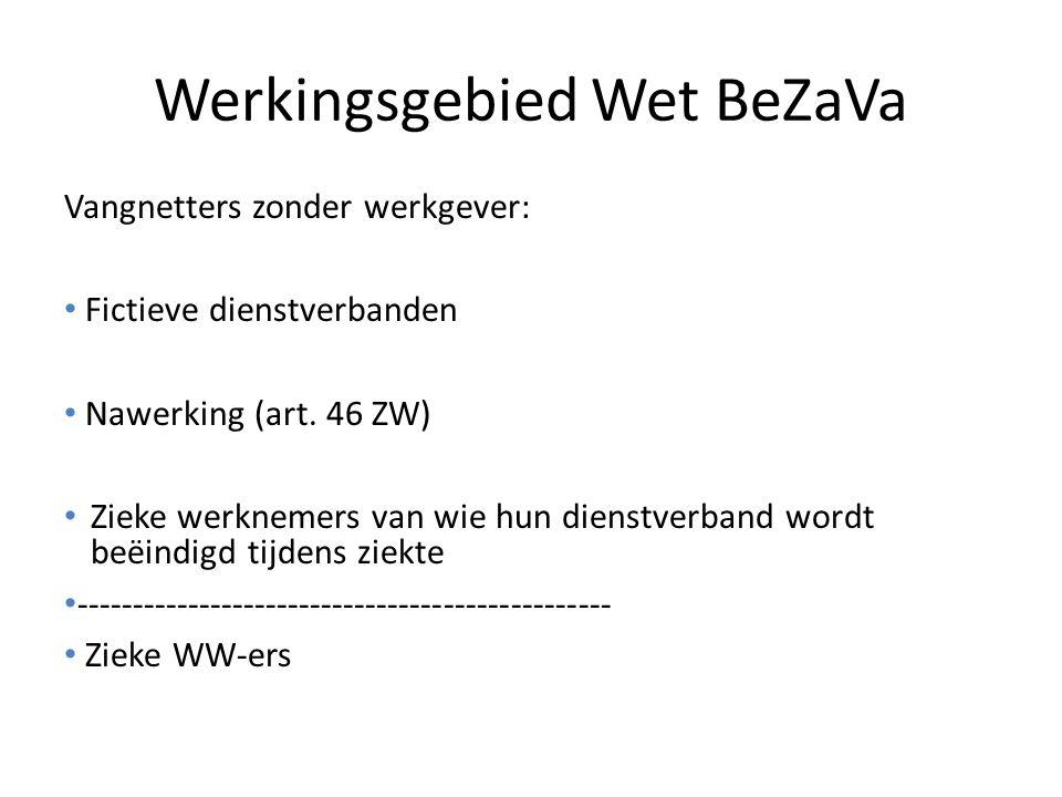 Werkingsgebied Wet BeZaVa Vangnetters zonder werkgever: Fictieve dienstverbanden Nawerking (art. 46 ZW) Zieke werknemers van wie hun dienstverband wor