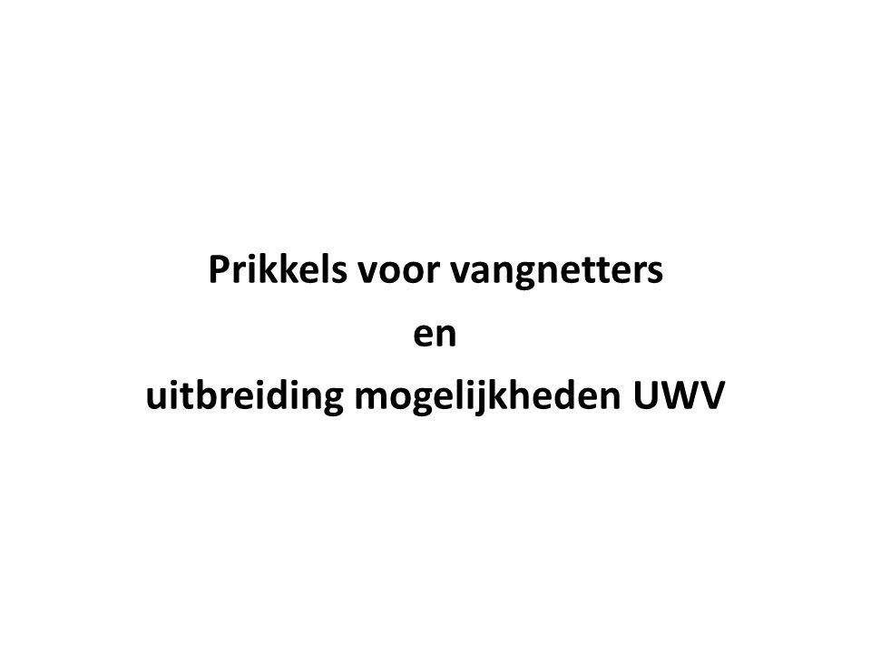 Prikkels voor vangnetters en uitbreiding mogelijkheden UWV