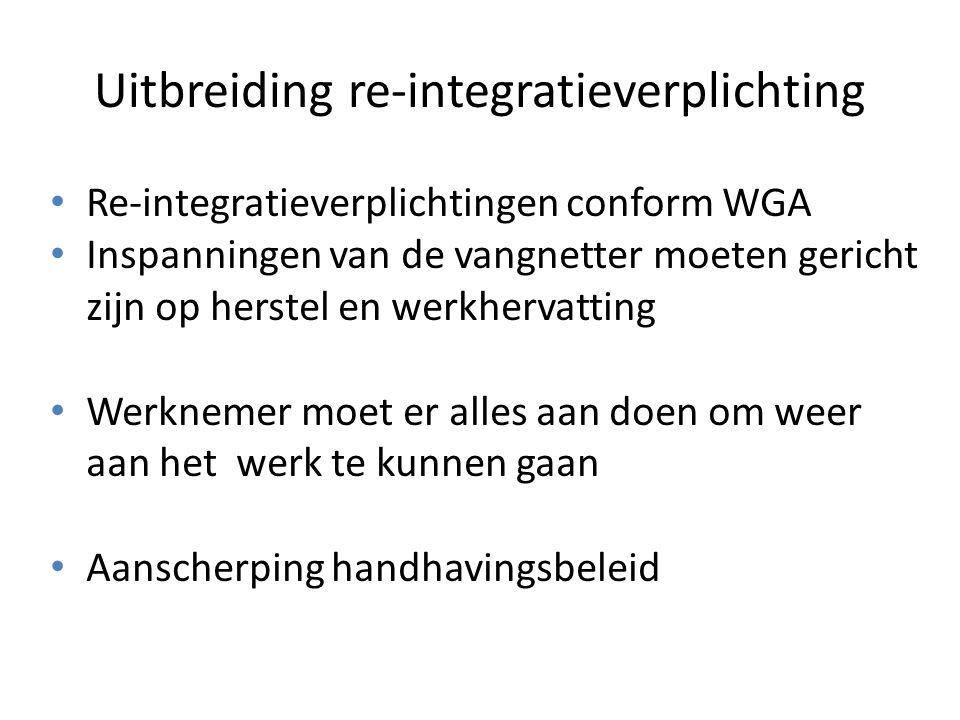 Uitbreiding re-integratieverplichting Re-integratieverplichtingen conform WGA Inspanningen van de vangnetter moeten gericht zijn op herstel en werkher