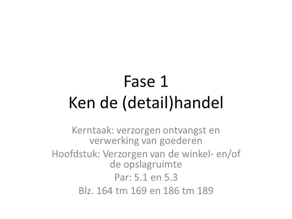 Fase 1 Ken de (detail)handel Kerntaak: verzorgen ontvangst en verwerking van goederen Hoofdstuk: Verzorgen van de winkel- en/of de opslagruimte Par: 5