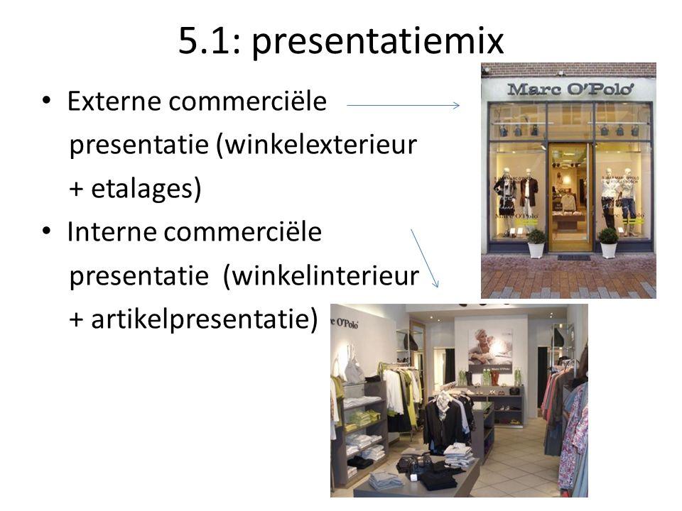 5.1: presentatiemix Externe commerciële presentatie (winkelexterieur + etalages) Interne commerciële presentatie (winkelinterieur + artikelpresentatie