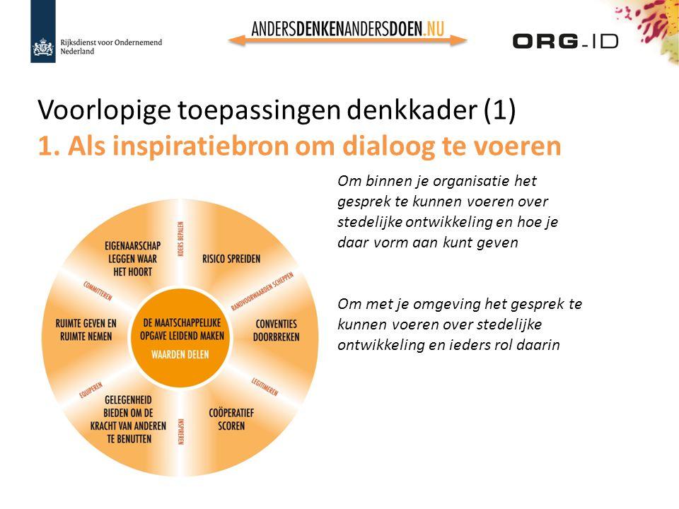 Voorlopige toepassingen denkkader (1) 1. Als inspiratiebron om dialoog te voeren Om binnen je organisatie het gesprek te kunnen voeren over stedelijke