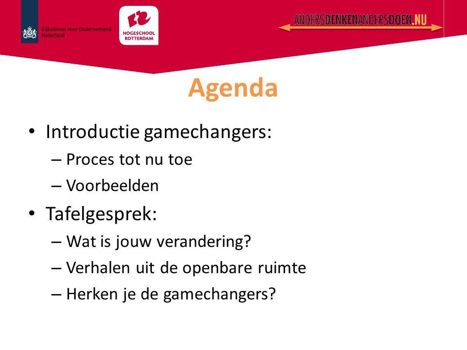 Introductie gamechangers: – Proces tot nu toe – Voorbeelden Tafelgesprek: – Wat is jouw verandering? – Verhalen uit de openbare ruimte – Herken je de