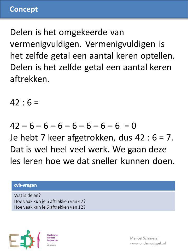 Lesdoel Marcel Schmeier www.onderwijsgek.nl cvb-vragen Wat is delen? Hoe vaak kun je 6 aftrekken van 42? Hoe vaak kun je 6 aftrekken van 12? Concept D