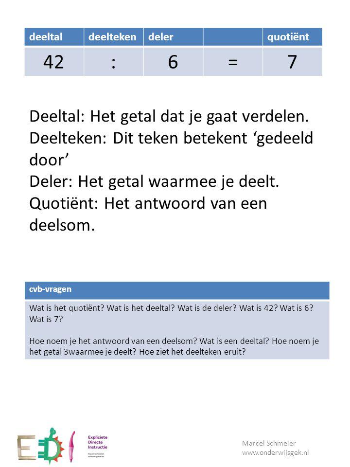 Lesdoel Marcel Schmeier www.onderwijsgek.nl cvb-vragen Wat is het quotiënt? Wat is het deeltal? Wat is de deler? Wat is 42? Wat is 6? Wat is 7? Hoe no