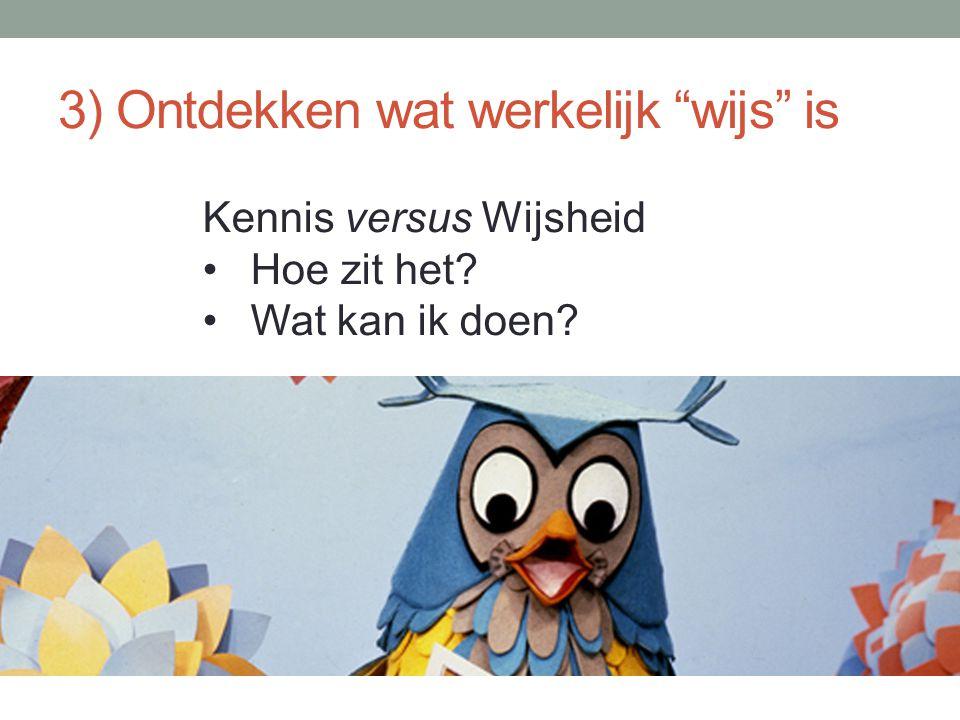 """3) Ontdekken wat werkelijk """"wijs"""" is Kennis versus Wijsheid Hoe zit het? Wat kan ik doen?"""