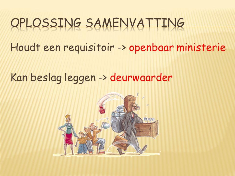 Houdt een requisitoir -> openbaar ministerie Kan beslag leggen -> deurwaarder