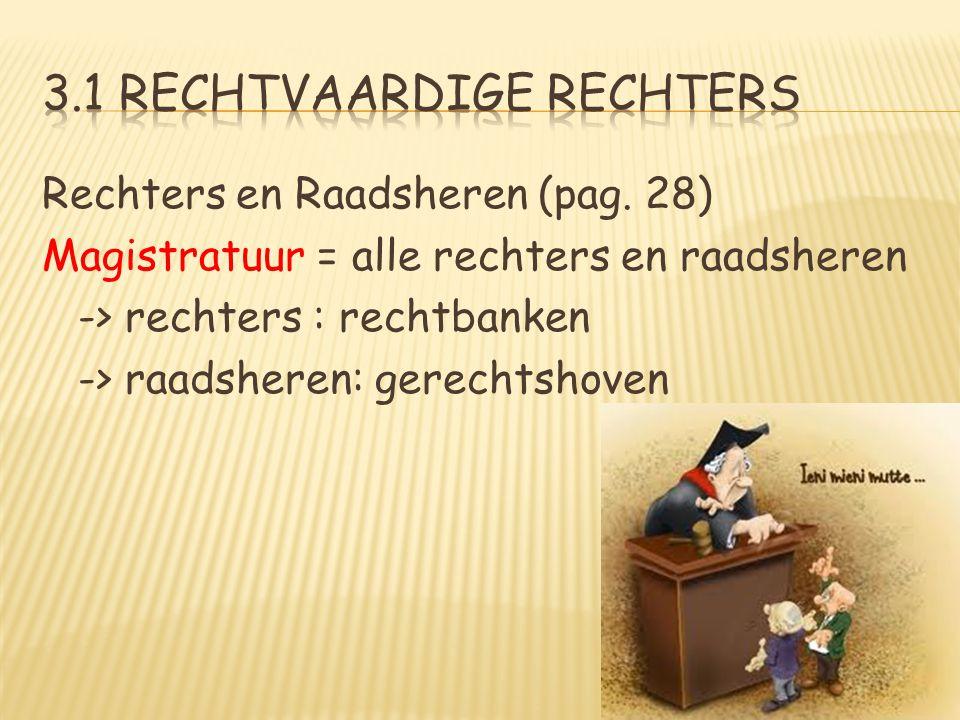 Rechters en Raadsheren (pag. 28) Magistratuur = alle rechters en raadsheren -> rechters : rechtbanken -> raadsheren: gerechtshoven