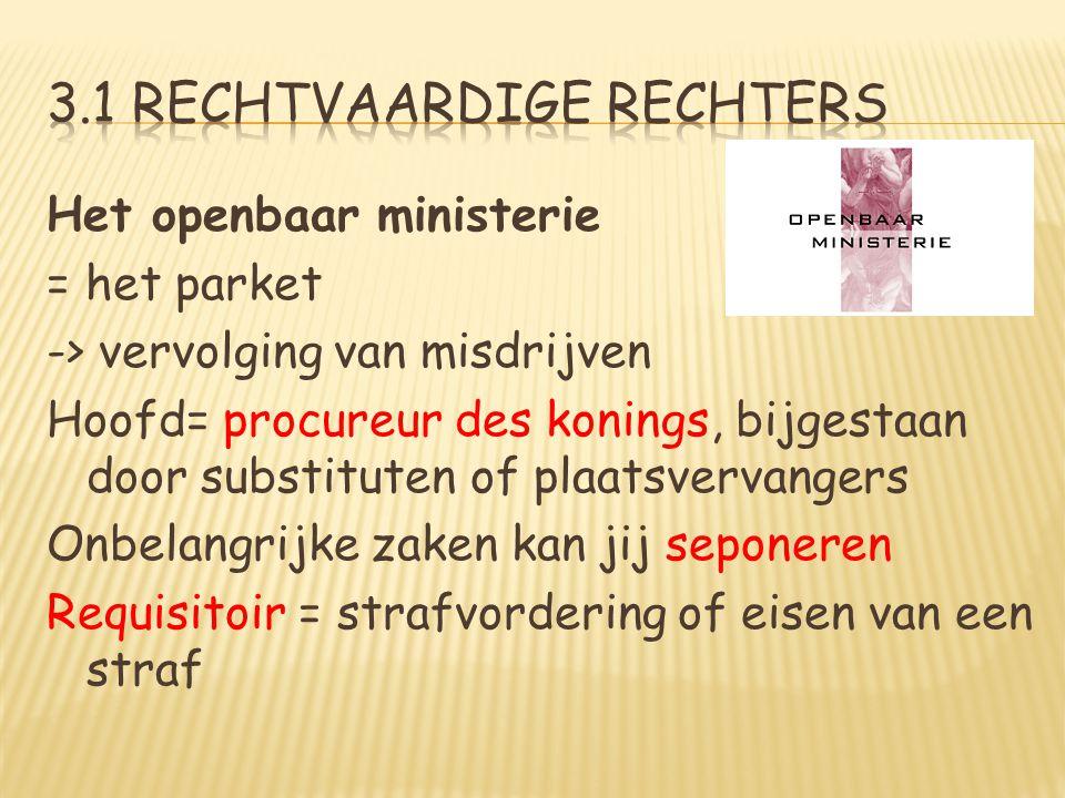 Het openbaar ministerie = het parket -> vervolging van misdrijven Hoofd= procureur des konings, bijgestaan door substituten of plaatsvervangers Onbela