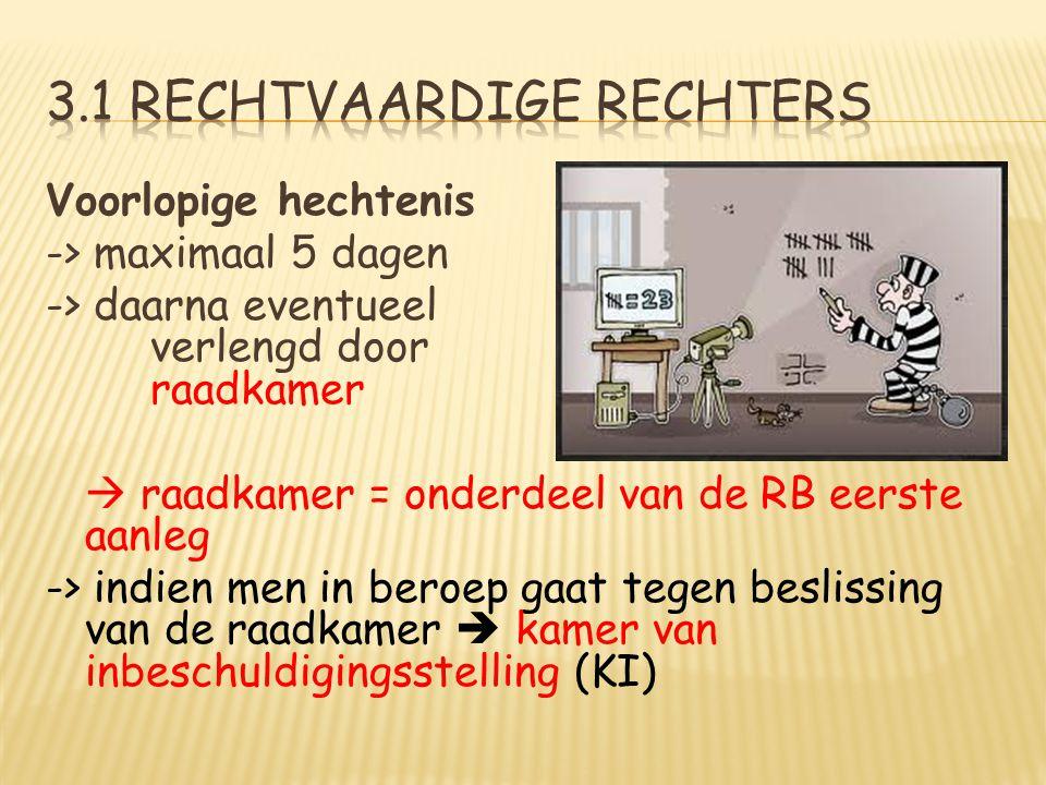 Voorlopige hechtenis -> maximaal 5 dagen -> daarna eventueel verlengd door raadkamer  raadkamer = onderdeel van de RB eerste aanleg -> indien men in beroep gaat tegen beslissing van de raadkamer  kamer van inbeschuldigingsstelling (KI)