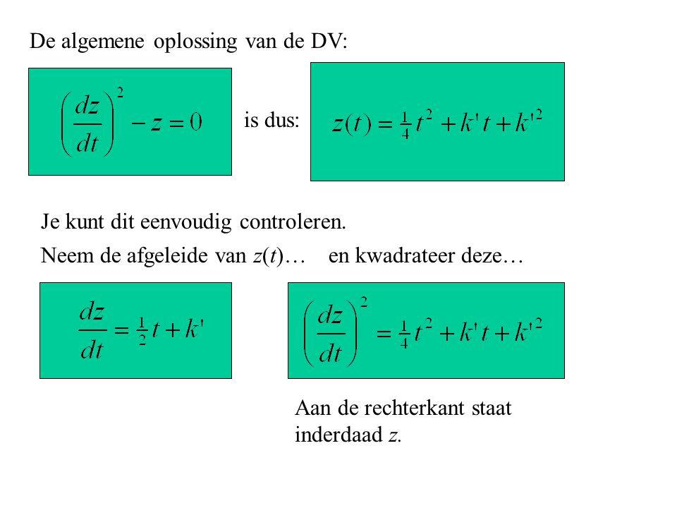 De algemene oplossing van de DV: is dus: Je kunt dit eenvoudig controleren. Neem de afgeleide van z(t)… Aan de rechterkant staat inderdaad z. en kwadr