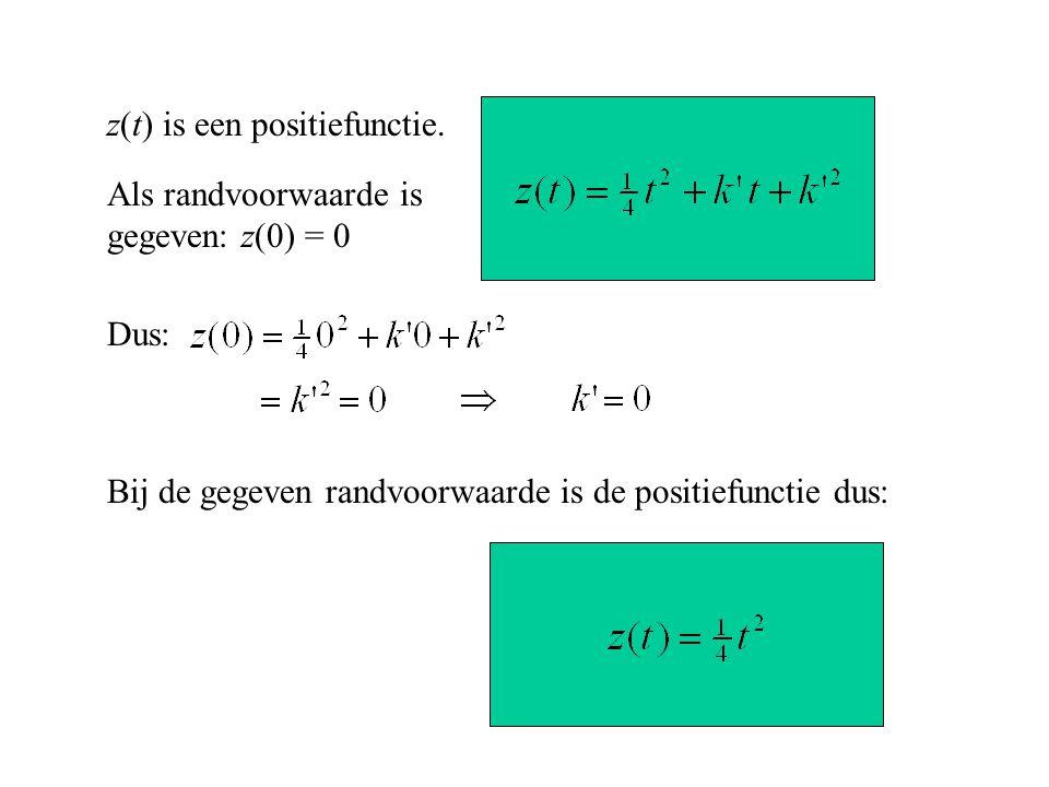 z(t) is een positiefunctie. Als randvoorwaarde is gegeven: z(0) = 0 Dus: Bij de gegeven randvoorwaarde is de positiefunctie dus: