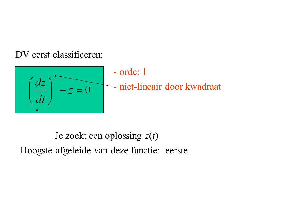 DV eerst classificeren: Je zoekt een oplossing z(t) eerste - niet-lineair door kwadraat - orde: 1 Hoogste afgeleide van deze functie: