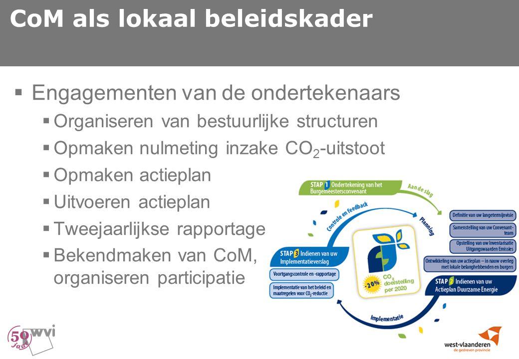 CoM als lokaal beleidskader  Engagementen van de ondertekenaars  Organiseren van bestuurlijke structuren  Opmaken nulmeting inzake CO 2 -uitstoot  Opmaken actieplan  Uitvoeren actieplan  Tweejaarlijkse rapportage  Bekendmaken van CoM, organiseren participatie