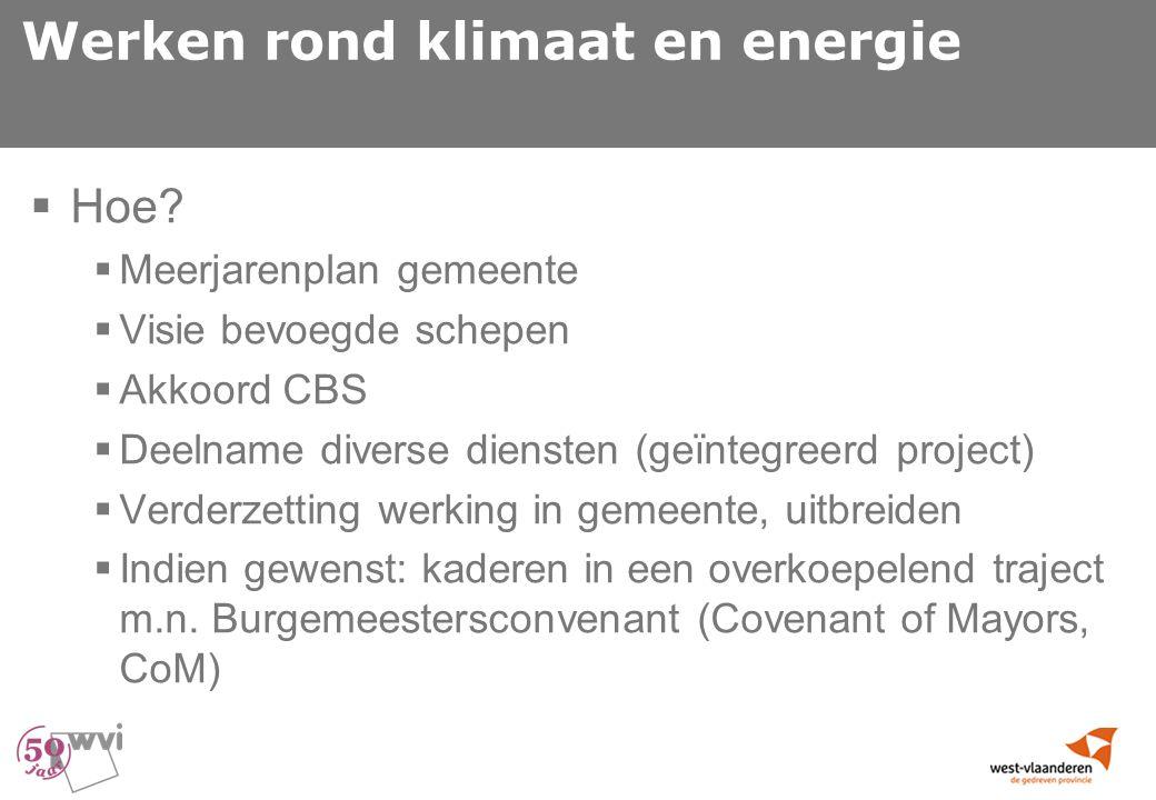 Werken rond klimaat en energie  Hoe.