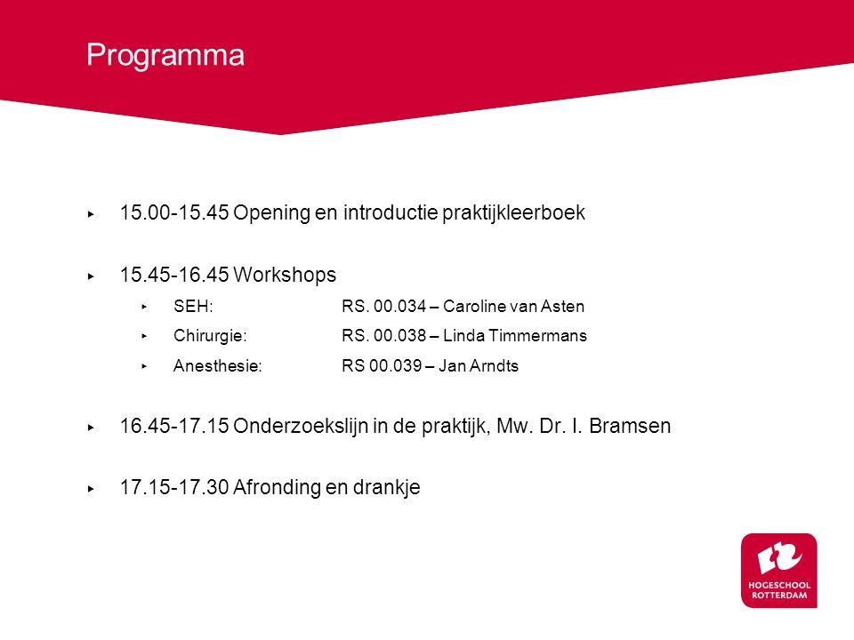 Programma ▸ 15.00-15.45 Opening en introductie praktijkleerboek ▸ 15.45-16.45 Workshops ▸ SEH:RS.