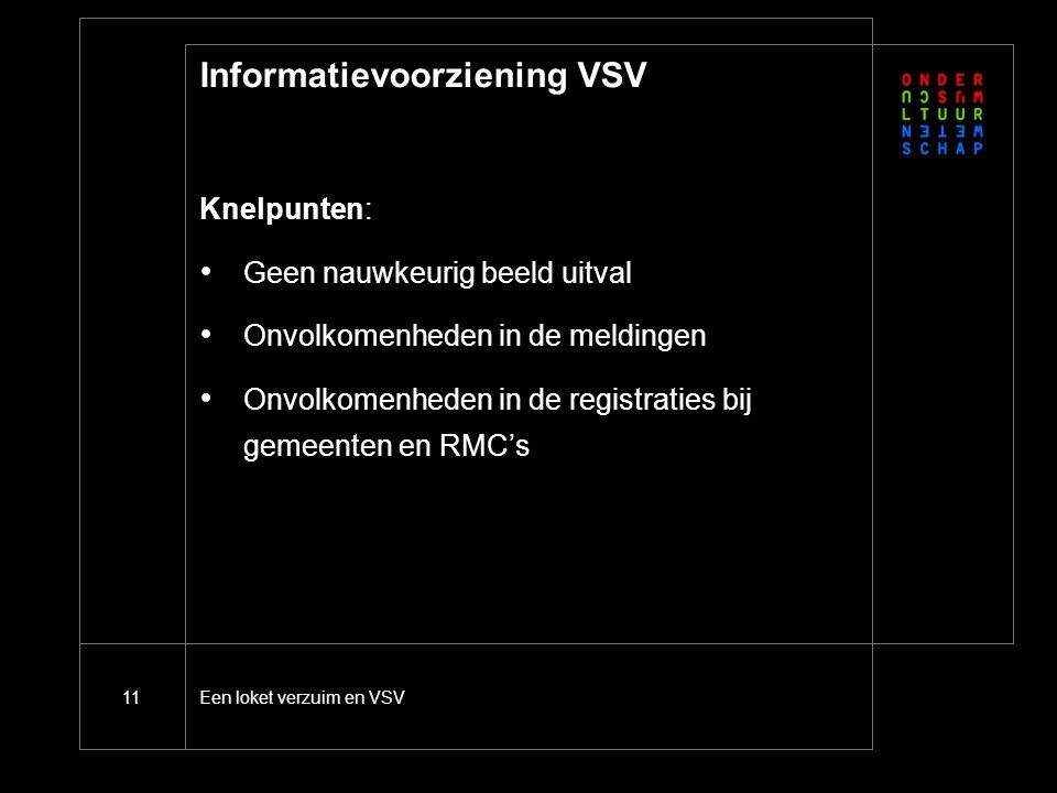 11 Informatievoorziening VSV Knelpunten: Geen nauwkeurig beeld uitval Onvolkomenheden in de meldingen Onvolkomenheden in de registraties bij gemeenten en RMC's