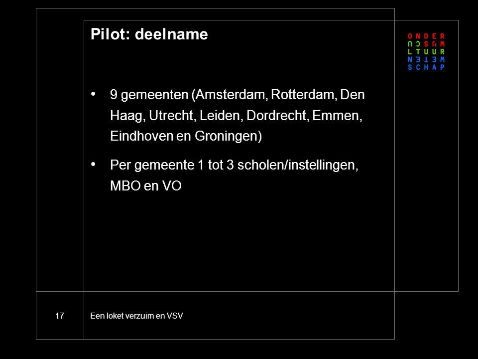 Een loket verzuim en VSV17 Pilot: deelname 9 gemeenten (Amsterdam, Rotterdam, Den Haag, Utrecht, Leiden, Dordrecht, Emmen, Eindhoven en Groningen) Per gemeente 1 tot 3 scholen/instellingen, MBO en VO