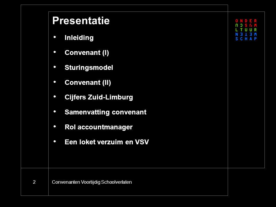 Convenanten Voortijdig Schoolverlaten2 Presentatie Inleiding Convenant (I) Sturingsmodel Convenant (II) Cijfers Zuid-Limburg Samenvatting convenant Rol accountmanager Een loket verzuim en VSV