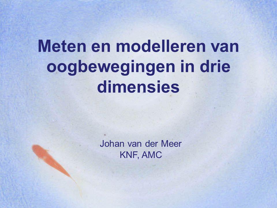 Meten en modelleren van oogbewegingen in drie dimensies Johan van der Meer KNF, AMC