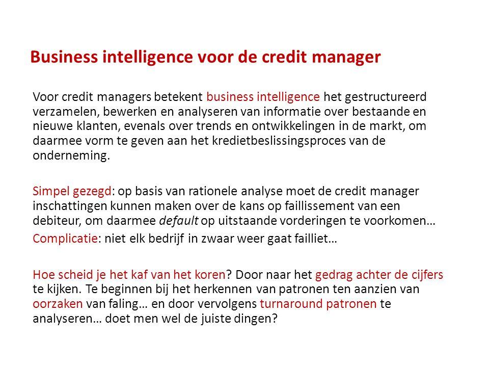 Business intelligence voor de credit manager Voor credit managers betekent business intelligence het gestructureerd verzamelen, bewerken en analyseren