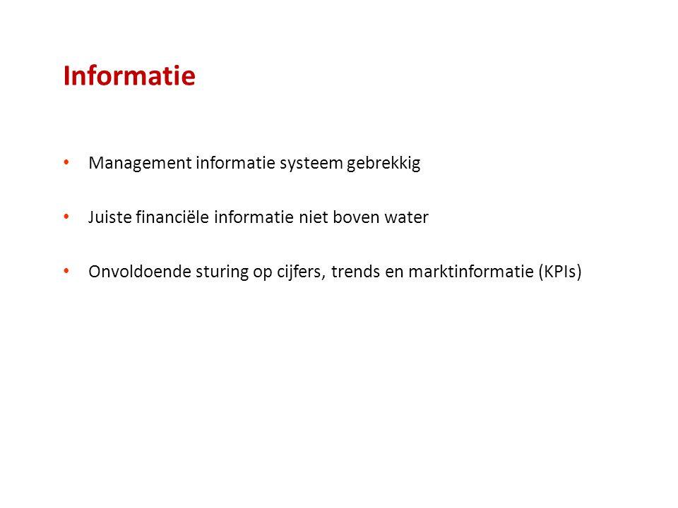 Informatie Management informatie systeem gebrekkig Juiste financiële informatie niet boven water Onvoldoende sturing op cijfers, trends en marktinformatie (KPIs)