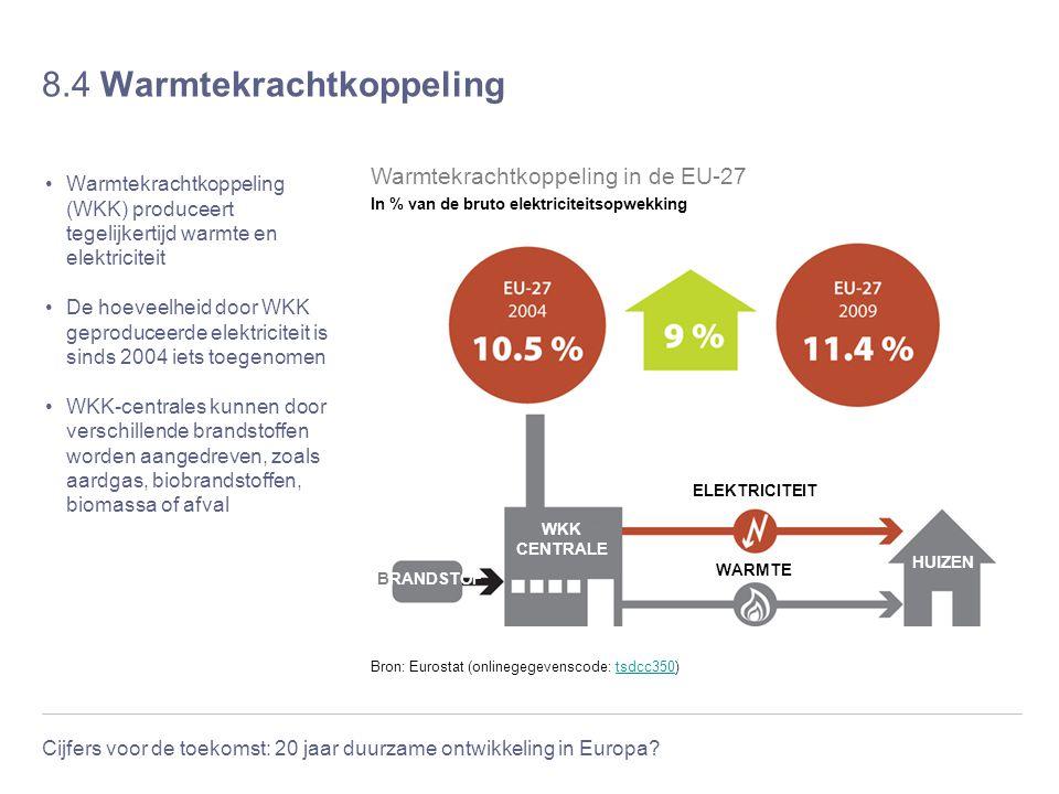 Cijfers voor de toekomst: 20 jaar duurzame ontwikkeling in Europa? 8.4 Warmtekrachtkoppeling Warmtekrachtkoppeling (WKK) produceert tegelijkertijd war