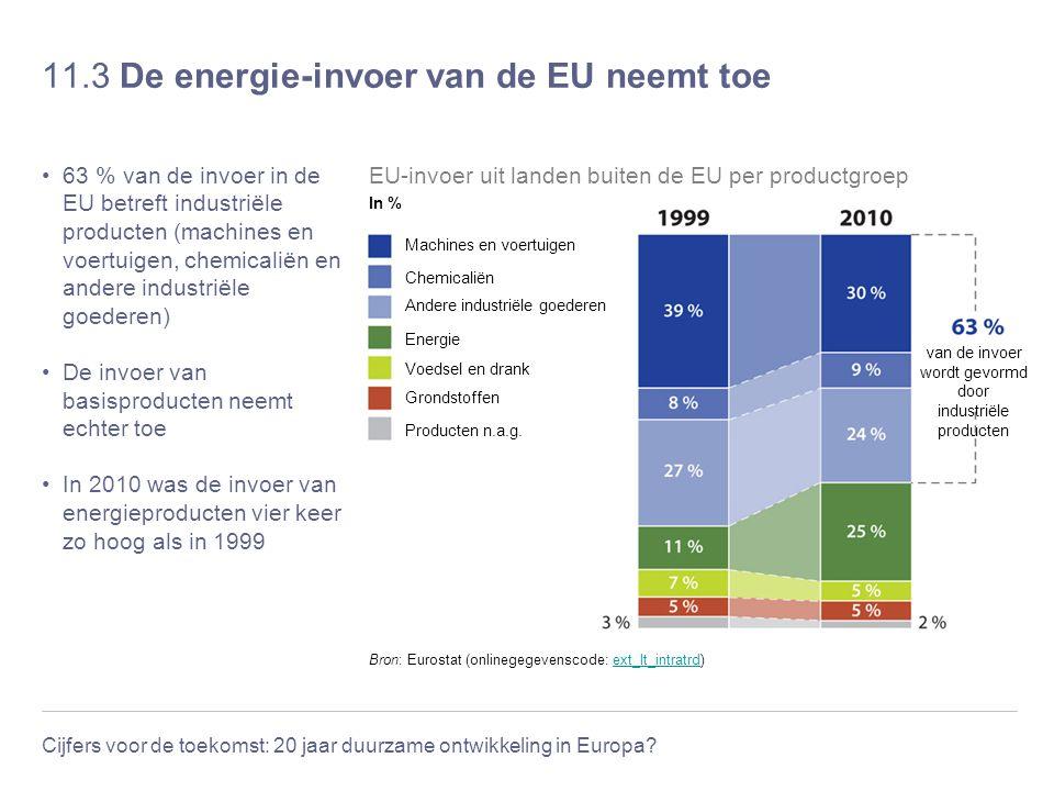 Cijfers voor de toekomst: 20 jaar duurzame ontwikkeling in Europa? 11.3 De energie-invoer van de EU neemt toe 63 % van de invoer in de EU betreft indu