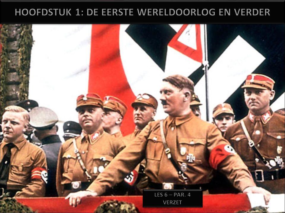 Diepe tweedeling onder de bevolking –Maar de leidde niet vanzelfsprekend tot verzet –Doordat Vele (mogelijke) leiders van verzet al voor de oorlog waren opgepakt De greep van de Nazi's op de maatschappij steeds sterker werd (totalitair) Een groot deel der bevolking voor Hitler was en dus weinig ruimte bleef voor afwijkend gedrag