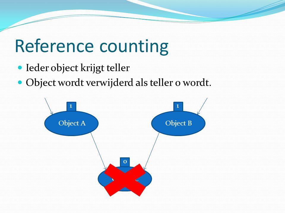Moving vs non-moving (2) Moving Non-moving Na kopiëren objecten hele oude geheugen snel vrij te geven Steeds veel ruimte om nieuwe objecten te plaatsen Bij goede verplaatsing objecten, veelgebruikte objecten dicht bij elkaar in geheugen, beter voor cache Ieder onbereikbaar object afgaan en markeren als bruikbaar geheugen Geheugen kan sterk gefragmenteerd raken