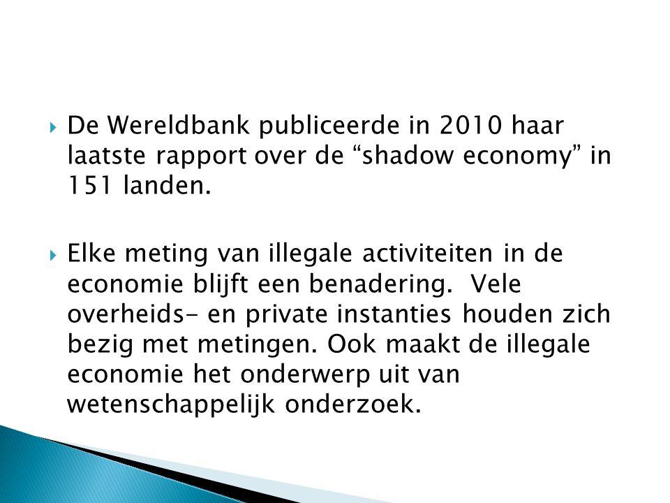  De Wereldbank publiceerde in 2010 haar laatste rapport over de shadow economy in 151 landen.