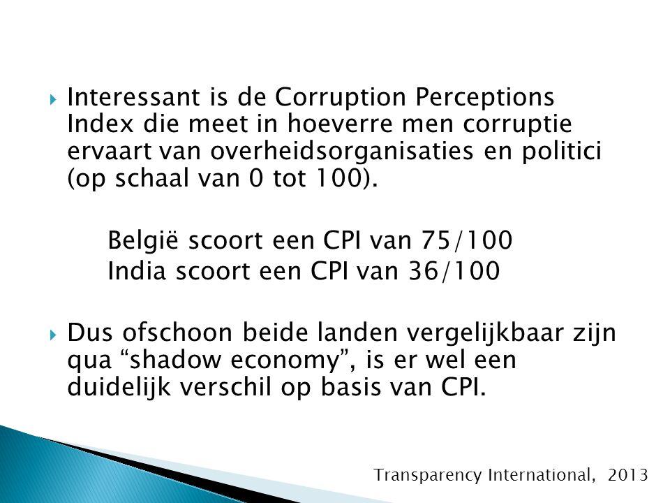  Interessant is de Corruption Perceptions Index die meet in hoeverre men corruptie ervaart van overheidsorganisaties en politici (op schaal van 0 tot 100).