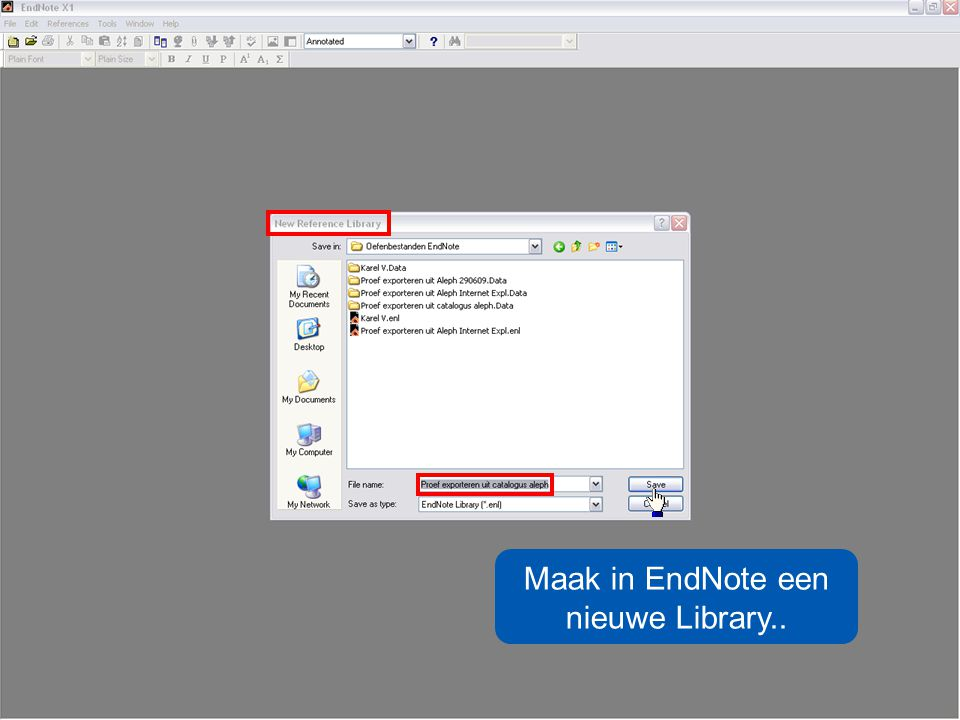 Maak in EndNote een nieuwe Library..