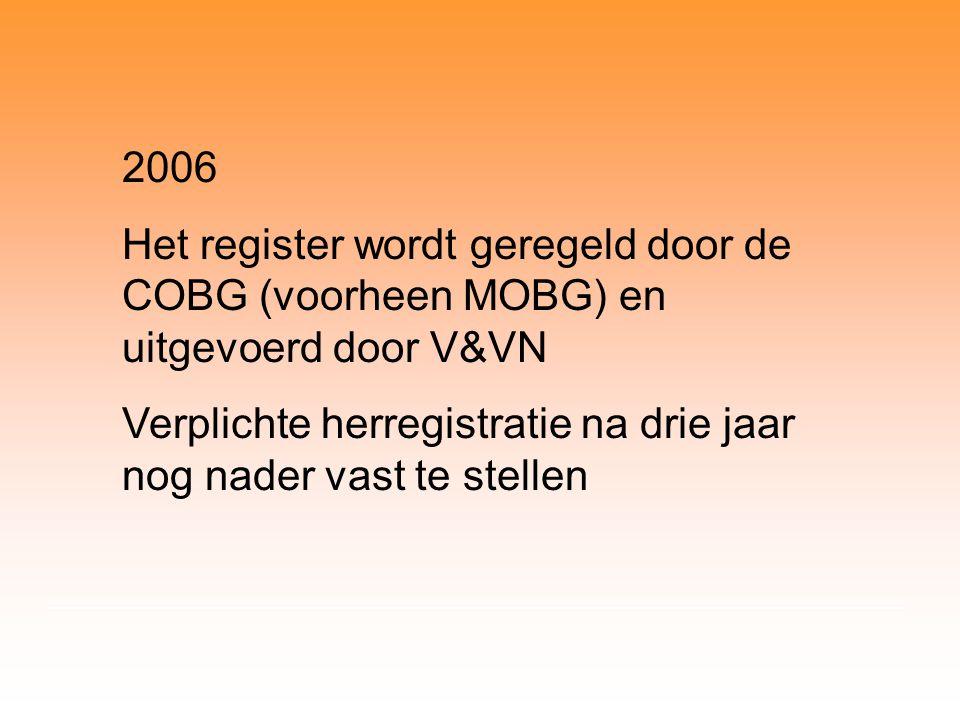 2006 Het register wordt geregeld door de COBG (voorheen MOBG) en uitgevoerd door V&VN Verplichte herregistratie na drie jaar nog nader vast te stellen