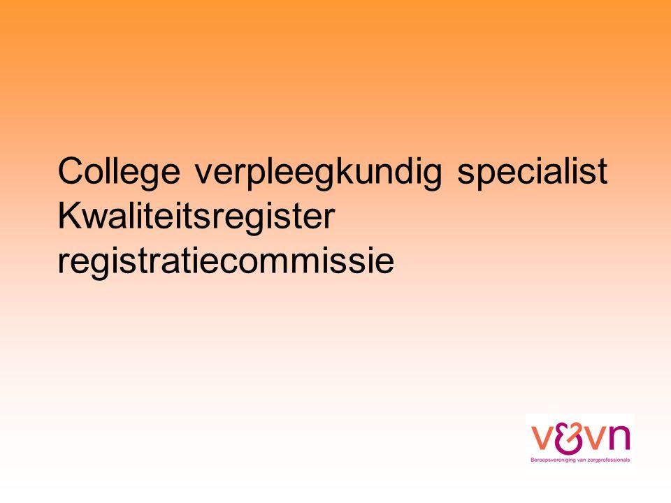 College verpleegkundig specialist Kwaliteitsregister registratiecommissie