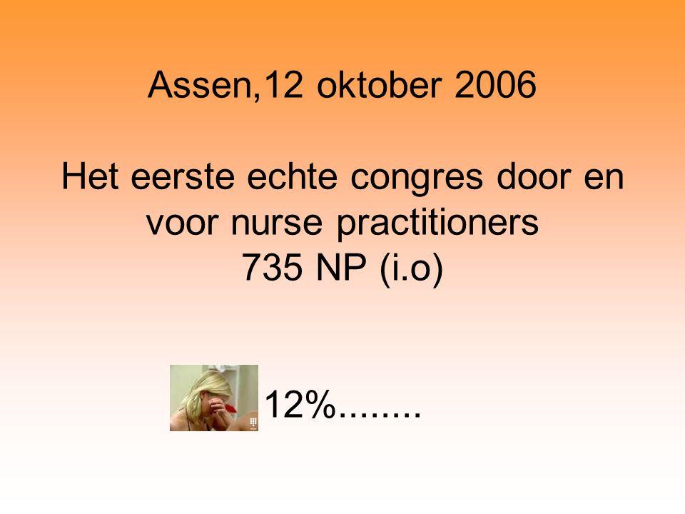 Assen,12 oktober 2006 Het eerste echte congres door en voor nurse practitioners 735 NP (i.o) 12%........