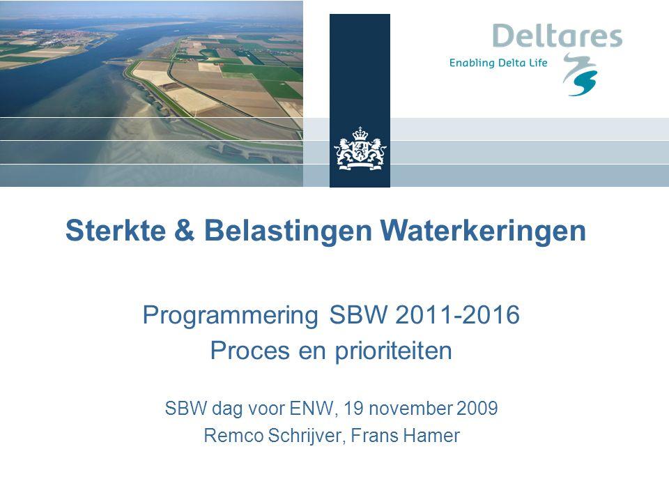 Sterkte & Belastingen Waterkeringen Programmering SBW 2011-2016 Proces en prioriteiten SBW dag voor ENW, 19 november 2009 Remco Schrijver, Frans Hamer