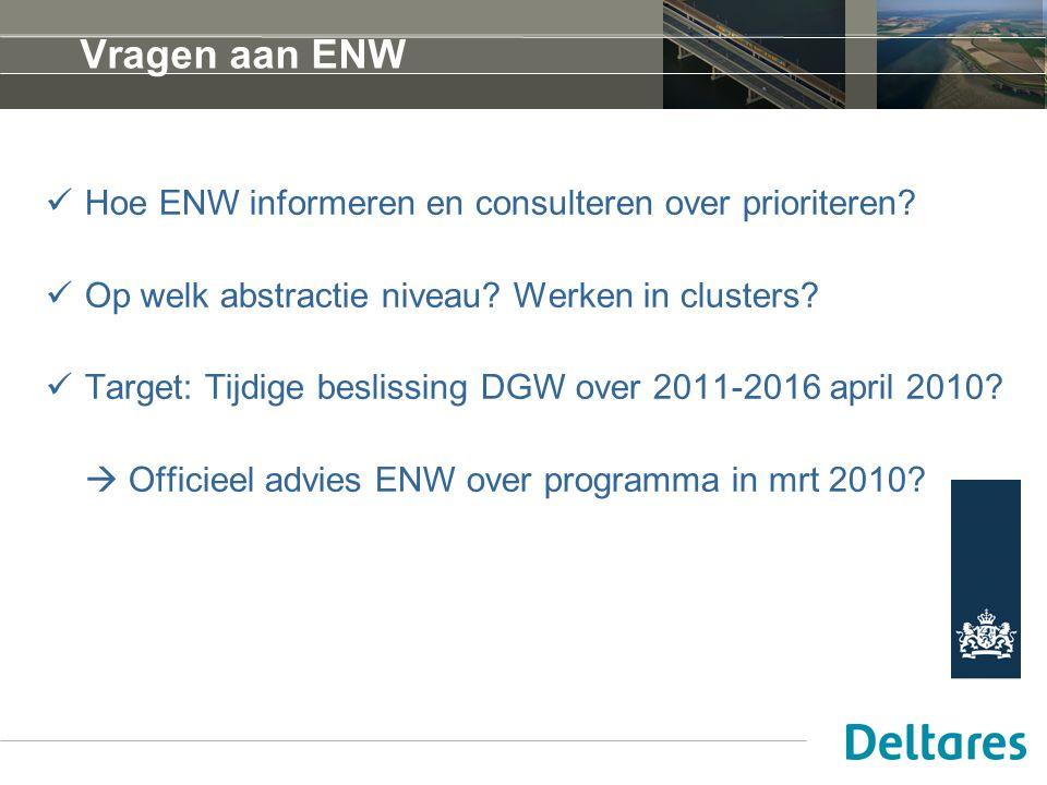 Vragen aan ENW Hoe ENW informeren en consulteren over prioriteren? Op welk abstractie niveau? Werken in clusters? Target: Tijdige beslissing DGW over