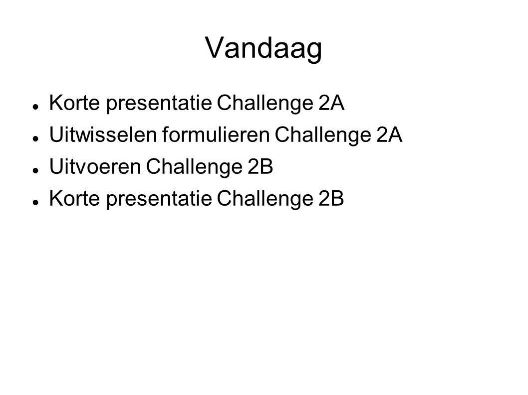 Vandaag Korte presentatie Challenge 2A Uitwisselen formulieren Challenge 2A Uitvoeren Challenge 2B Korte presentatie Challenge 2B
