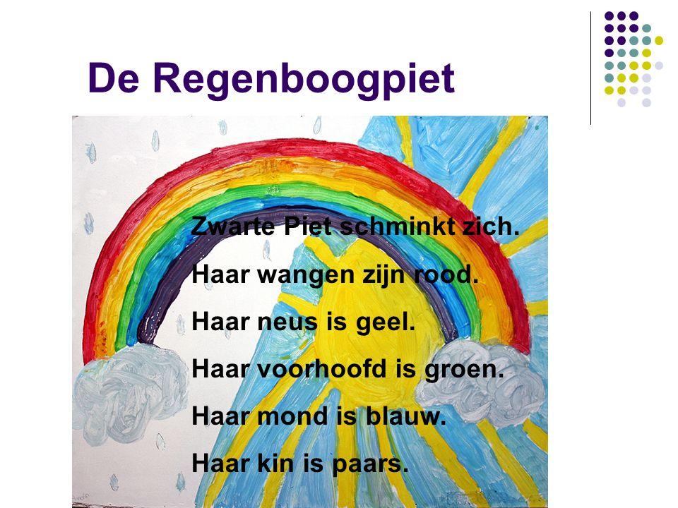 De Regenboogpiet Zwarte Piet schminkt zich. Haar wangen zijn rood. Haar neus is geel. Haar voorhoofd is groen. Haar mond is blauw. Haar kin is paars.
