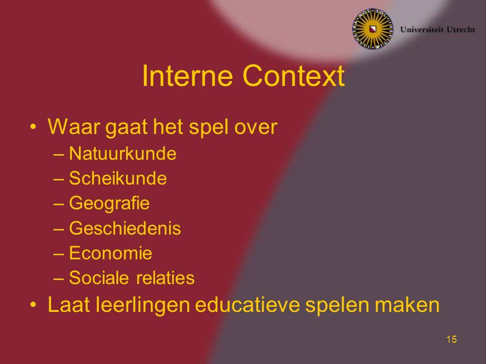 15 Interne Context Waar gaat het spel over –Natuurkunde –Scheikunde –Geografie –Geschiedenis –Economie –Sociale relaties Laat leerlingen educatieve sp