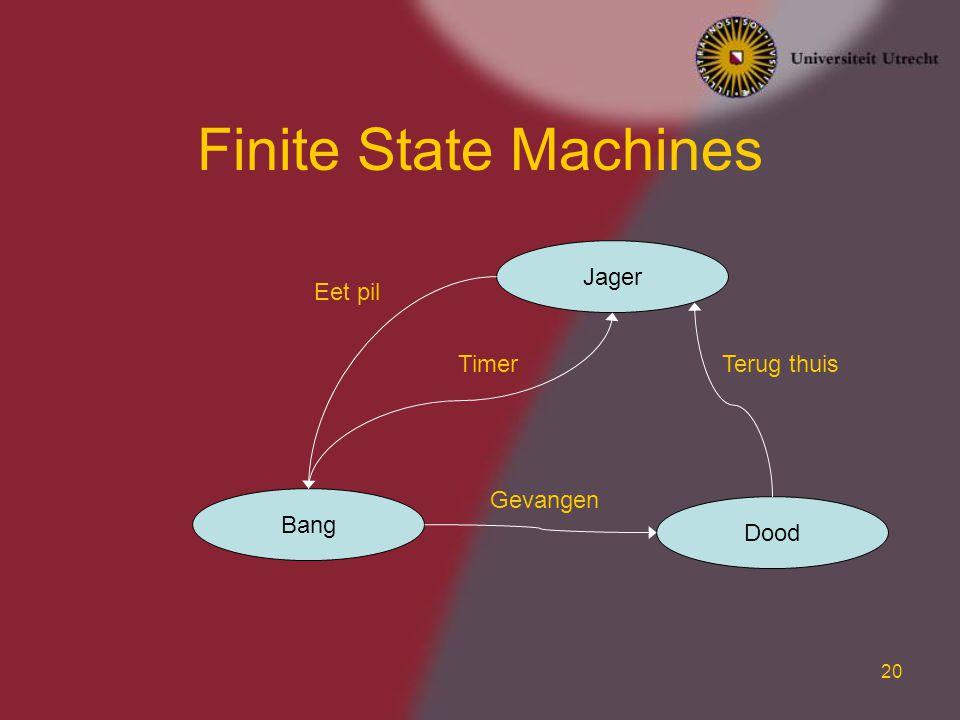20 Finite State Machines Jager Bang Dood Eet pil Timer Gevangen Terug thuis