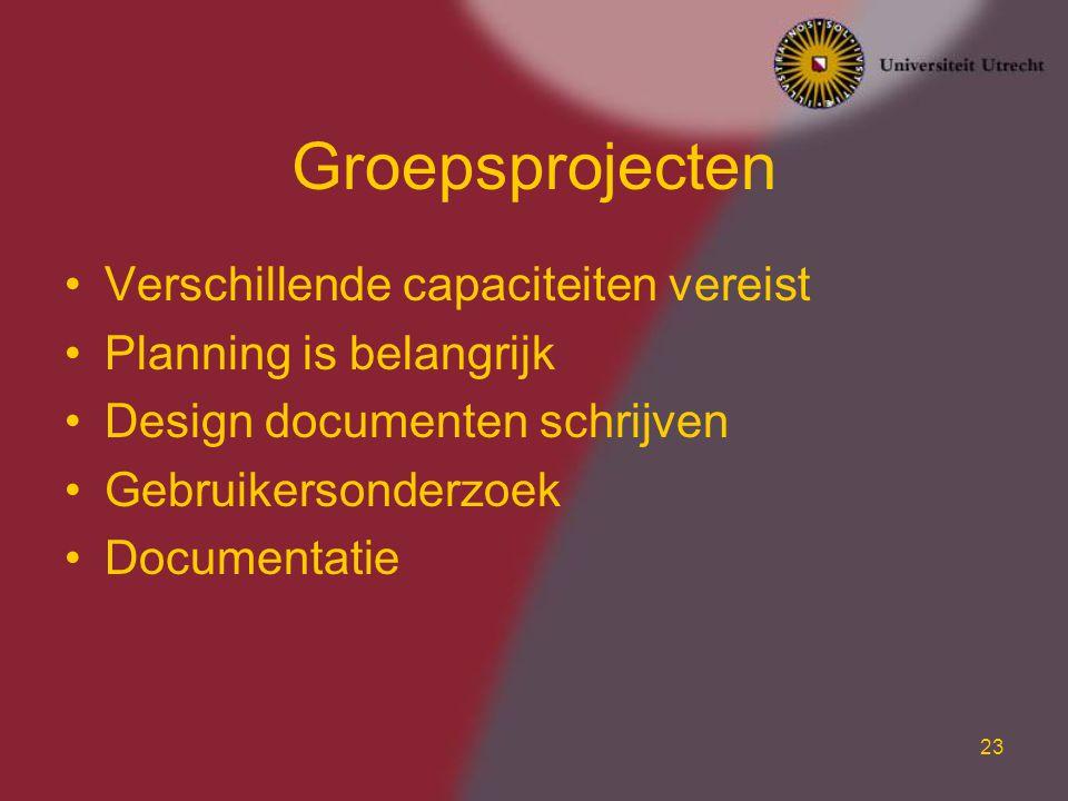 23 Groepsprojecten Verschillende capaciteiten vereist Planning is belangrijk Design documenten schrijven Gebruikersonderzoek Documentatie