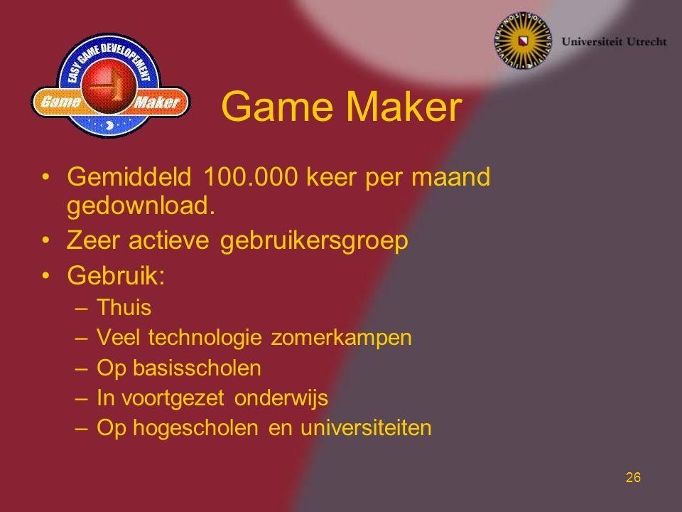 26 Game Maker Gemiddeld 100.000 keer per maand gedownload. Zeer actieve gebruikersgroep Gebruik: –Thuis –Veel technologie zomerkampen –Op basisscholen